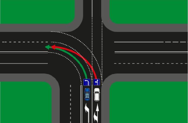 ДТП при повороте налево на зеленый сигнал светофора