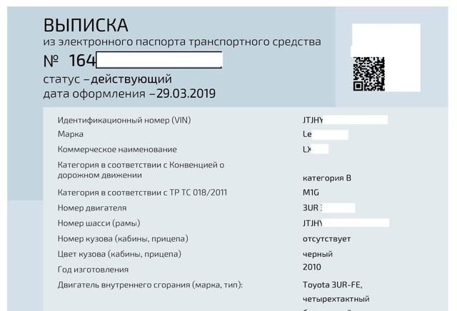 Приложение 1. Перечень сведений, указываемых в выписке электронного паспорта транспортного средства